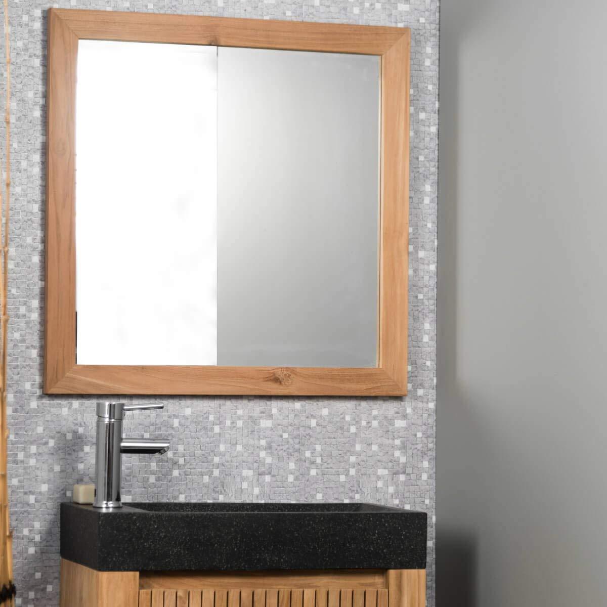 miroir salle de bain en teck